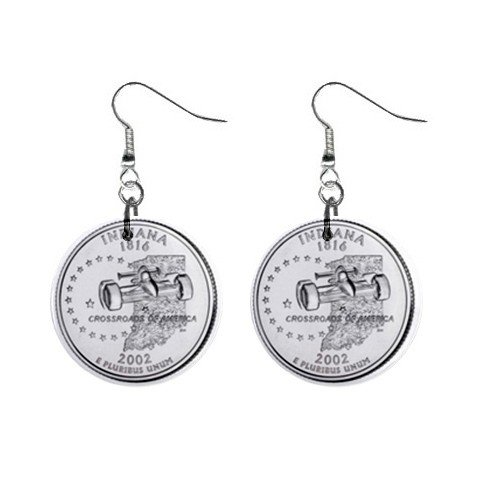 Indiana State Quarter Dangle Earrings Jewelry 1 inch Buttons 12302544