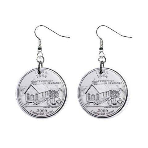 Iowa State Quarter Dangle Earrings Jewelry 1 inch Buttons 12302543