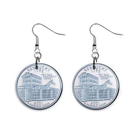 Kentucky State Quarter Dangle Earrings Jewelry 1 inch Buttons 12302541