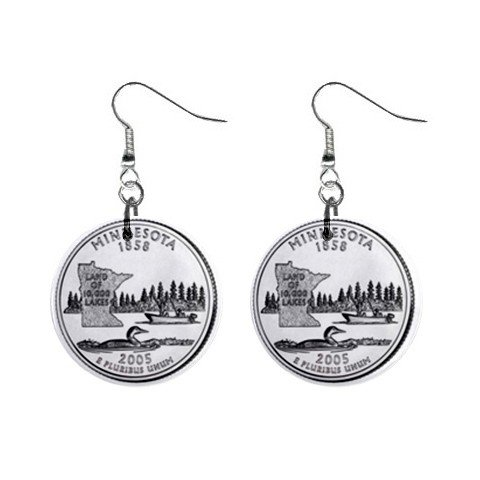 Minnesota State Quarter Dangle Earrings Jewelry 1 inch Buttons 12302534
