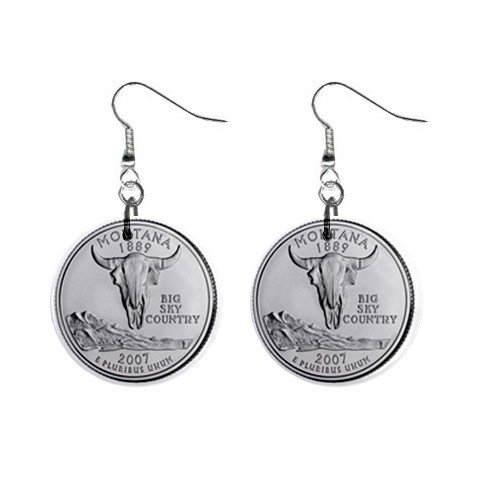 Montana State Quarter Dangle Earrings Jewelry 1 inch Buttons 12302531