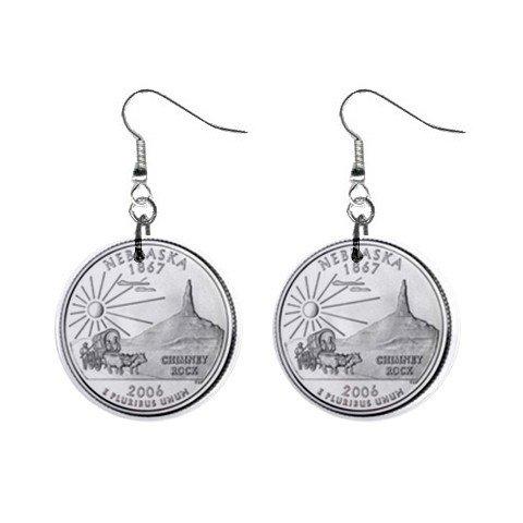 Nebraska State Quarter Dangle Earrings Jewelry 1 inch Buttons 2302530