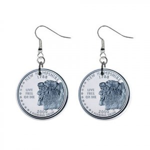 New Hampshire State Quarter Dangle Earrings Jewelry 1 inch Buttons12302528