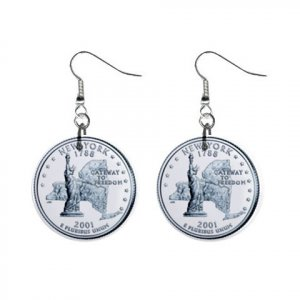 New York State Quarter Dangle Earrings Jewelry 1 inch Buttons 12302526