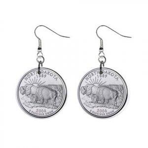 North Dakota State Quarter Dangle Earrings Jewelry 1 inch Buttons 12302523