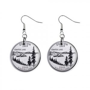 Oregon State Quarter Dangle Earrings Jewelry 1 inch Buttons 12302520