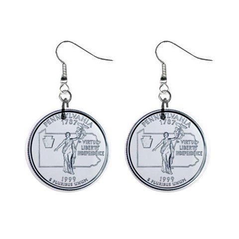 Pennsylvania State Quarter Dangle Earrings Jewelry 1 inch Buttons 12302519
