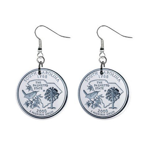 South Carolina State Quarter Dangle Earrings Jewelry 1 inch Buttons 12302515