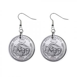 South Dakota State Quarter Dangle Earrings Jewelry 1 inch Buttons 12302514
