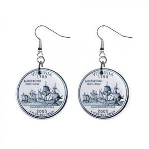 Virginia State Quarter Dangle Earrings Jewelry 1 inch Buttons 12302510