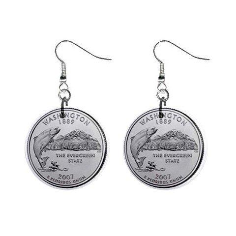 Washington State Quarter Dangle Earrings Jewelry 1 inch Buttons 12302509