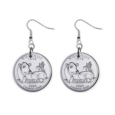 Wisconsin State Quarter Dangle Earrings Jewelry 1 inch Buttons 12302507