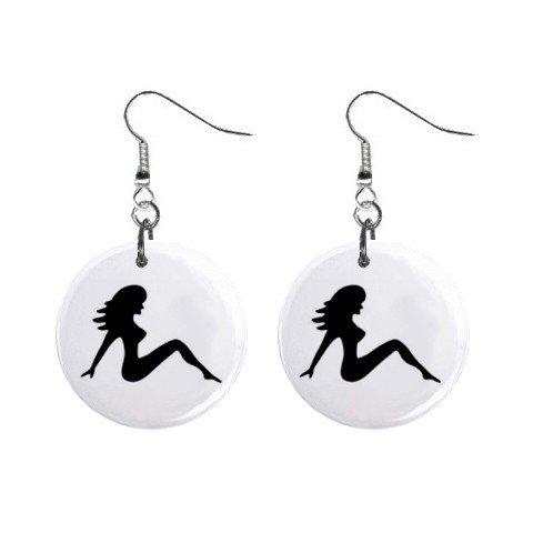 Mud Flap Girl Dangle Earrings Jewelry 1 inch Buttons 12305997