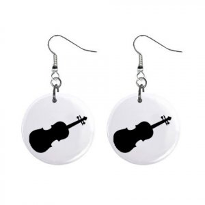 Violin Dangle Earrings Jewelry 1 inch Buttons 12305998