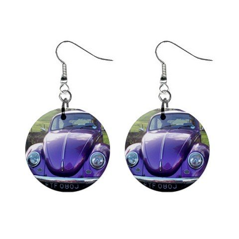 Volkswagon Beetle Bug Purple Dangle Earrings Jewelry 1 inch Buttons 12306008