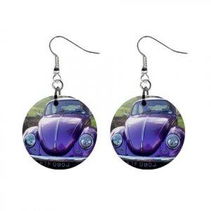 Volkswagon Beetle Bug Purple Dangle Earrings Jewelry 1 inch Buttons 12306008