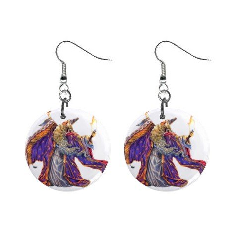 Wizard Mystic Dangle Earrings Jewelry 1 inch Buttons12334740