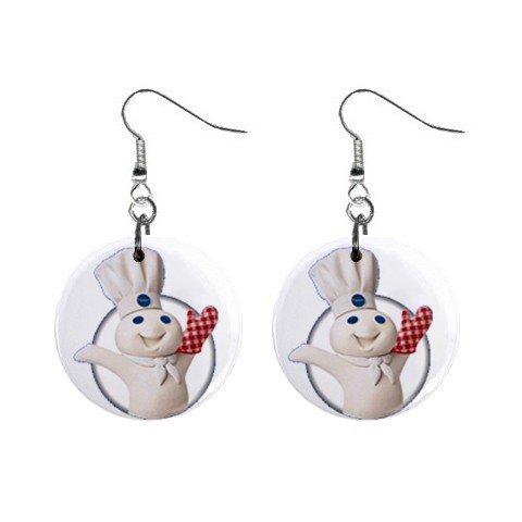 Pillsbury Doughboy #1 Dangle Earrings Jewelry 1 inch Buttons 12320043