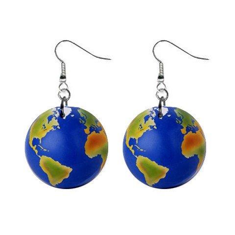Globe Dangle Earrings Jewelry 1 inch Buttons 12320045