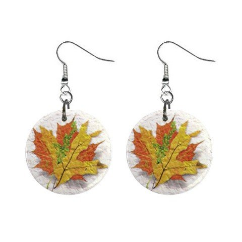 Fall Leaves Dangle Earrings Jewelry 1 inch Buttons 12320051