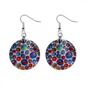 Marbles #2 Dangle Earrings Jewelry 1 inch Buttons 12320054