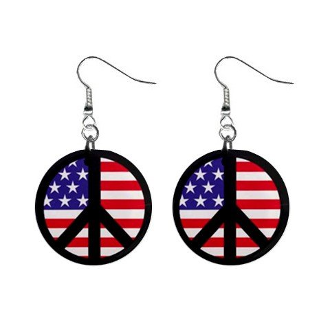 American Flag Peace Sign Dangle Earrings Jewelry 1 inch Buttons 12320058