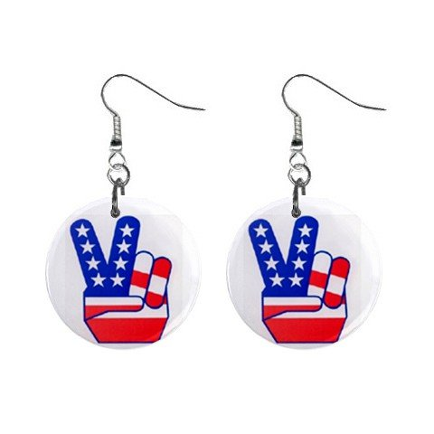 American Flag Peace Sign Fingers Dangle Earrings Jewelry 1 inch Buttons 12320061