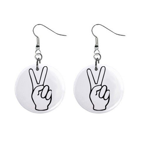 Peace Sign Fingers Dangle Earrings Jewelry 1 inch Buttons 12320062