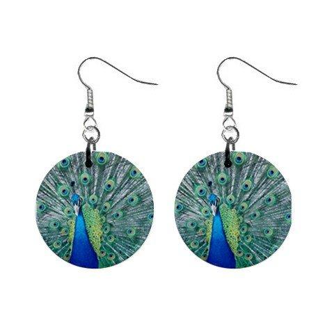 Peacock #1 Dangle Earrings Jewelry 1 inch Buttons 12320071