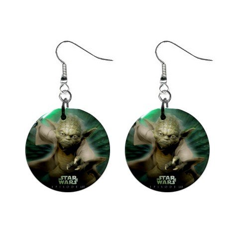 Star Wars Yoda Dangle Earrings Jewelry 1 inch Buttons 12320256