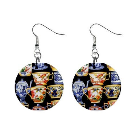 New Tea Pot Cups Collector Dangle Earrings Jewelry Button Round 12400603