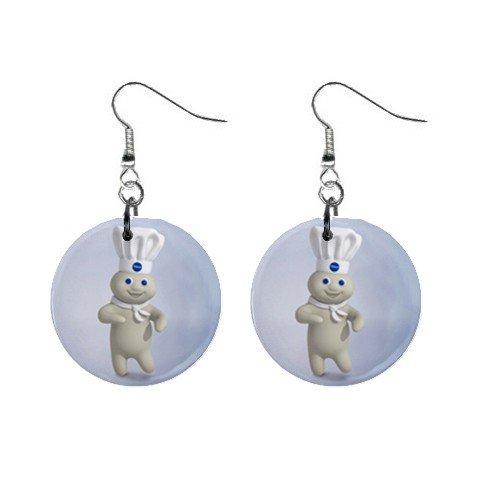 New Pillsbury Doughboy Dangle Earrings Jewelry 1 inch Buttons 12329445