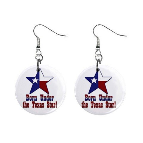 """New Born Under the Texas Star Dangle Earrings Jewelry 1"""" Button Round 12329171"""