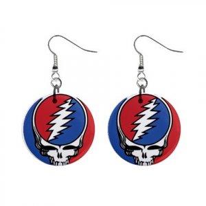 Grateful Dead Dangle Earrings Jewelry 1 inch Buttons 12040504