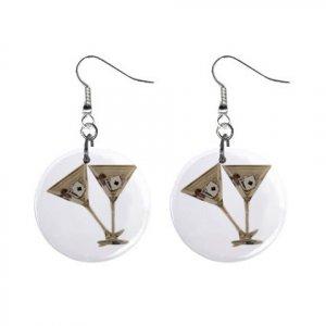 Gambling Martini Glasses Dangle Earrings Jewelry 1 inch Buttons 12116674
