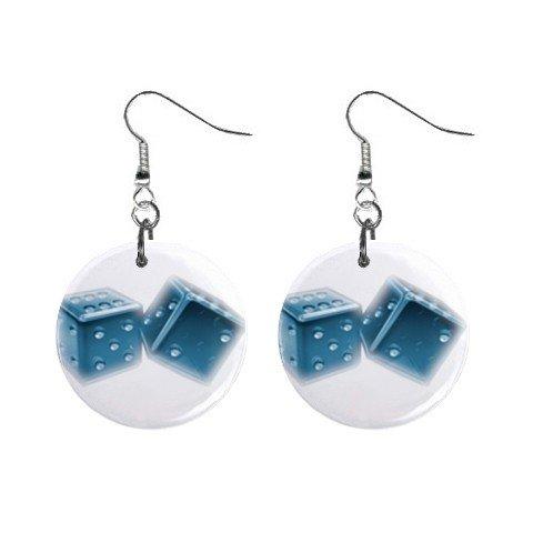 Rollin Dice Dangle Earrings Jewelry 1 inch Buttons 12116677