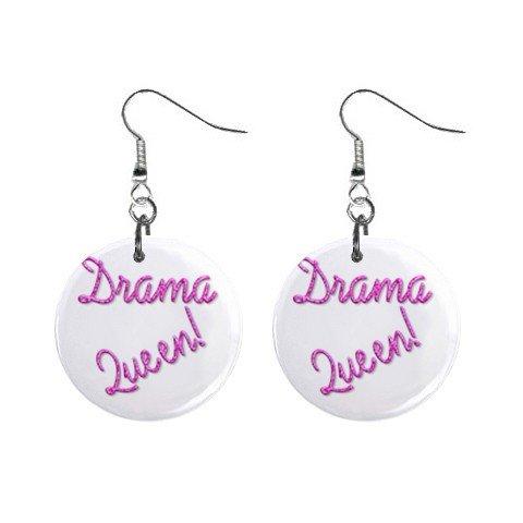 Drama Queen Dangle Earrings Jewelry 1 inch Buttons 12116682