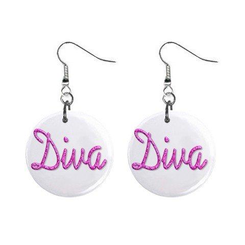 Diva Dangle Earrings Jewelry 1 inch Buttons 12116683
