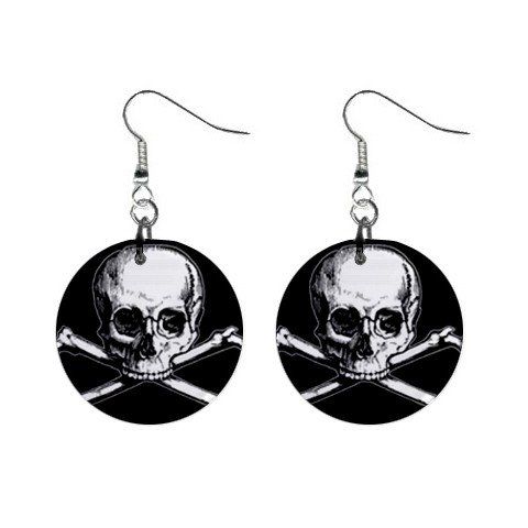 Skull and Crossbones Dangle Earrings Jewelry 1 inch Buttons 12176310