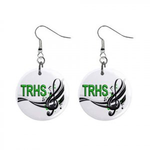 Thunderridge High School TRHS Musical Note Dangle Earrings Jewelry 1 inch Buttons 12310076