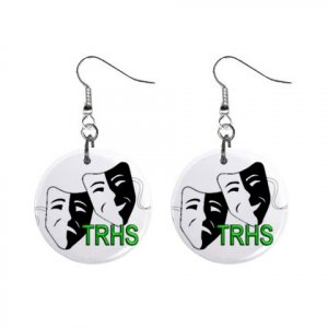 Thunderridge High School TRHS Theatre Theatrical Mask Dangle Earrings Jewelry Buttons 12310094