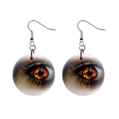 Firey Goth Eye Dangle Earrings Jewelry 1 inch Buttons 12310117