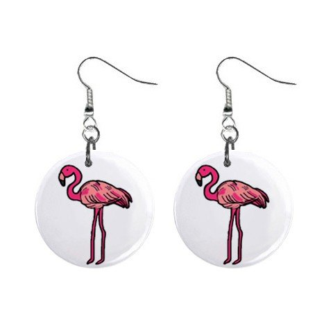Pink Flamingo #3 Dangle Earrings Jewelry 1 inch Buttons 12450075