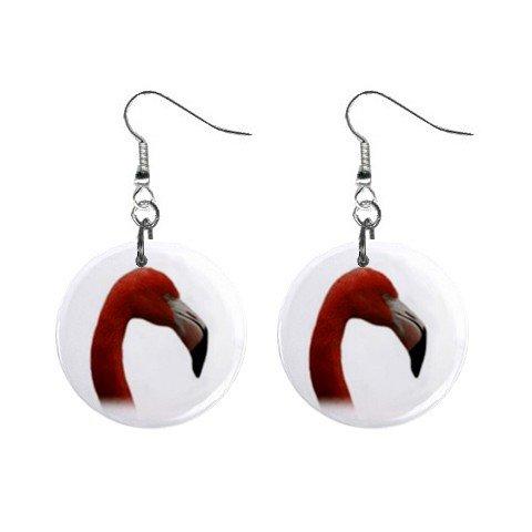 Pink Flamingo Head  Dangle Earrings Jewelry 1 inch Buttons 12450079