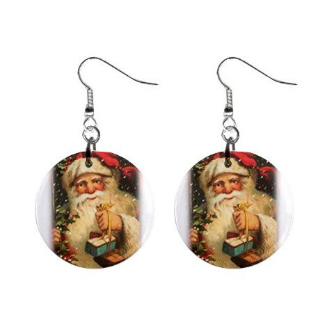 Christmas Vintage Santa 1 Dangle Earrings Jewelry 1 inch Buttons 12456945