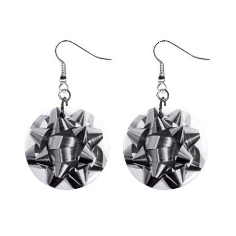 Christmas Silver Bow Dangle Earrings Jewelry 1 inch Buttons 12456985