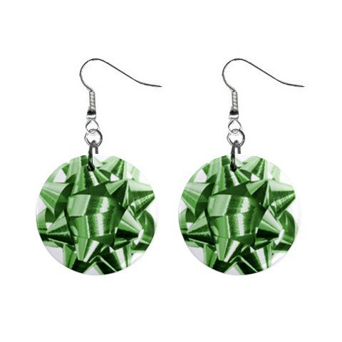 Christmas Green Bow Dangle Earrings Jewelry 1 inch Buttons 12456982