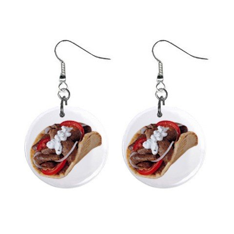 Gyros Dangle Earrings Jewelry 1 inch Button 12322867