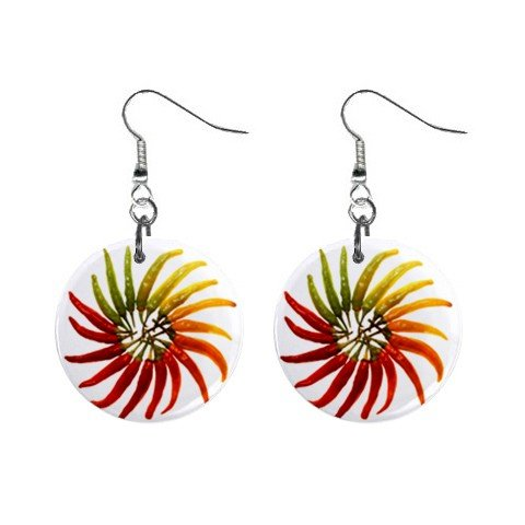 Hot Peppers Dangle Earrings Jewelry 1 inch Buttons 12322870
