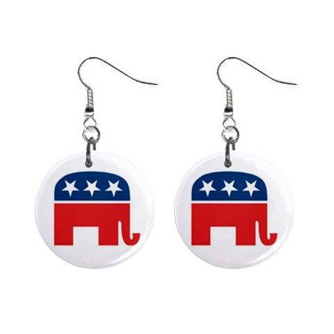 Republican Elephant Dangle Earrings Jewelry 1 inch Buttons 12323141